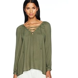 Jack BB Dakota Green Lace Up Blouse NWT M